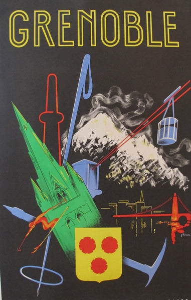 1950s Original French Travel Poster, Grenoble - Pichal