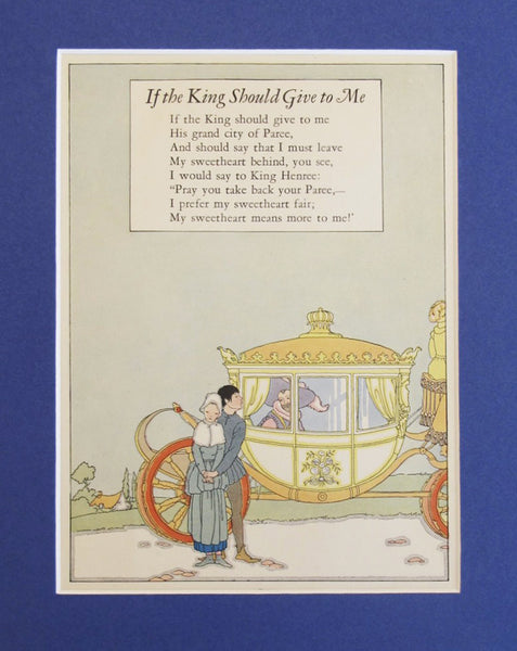 1927 British Art Deco Illustration, If The King Should Give To Me - Petersham