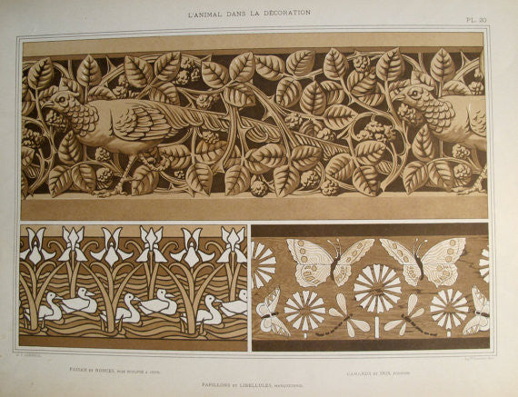 1898 French Decorator Pochoir - Pheasant, Duck and Butterflies - Verneuil