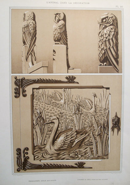 1898 French Decorator Pochoir -  Eagle, Parrots and Swans - Verneuil (Plate 32)