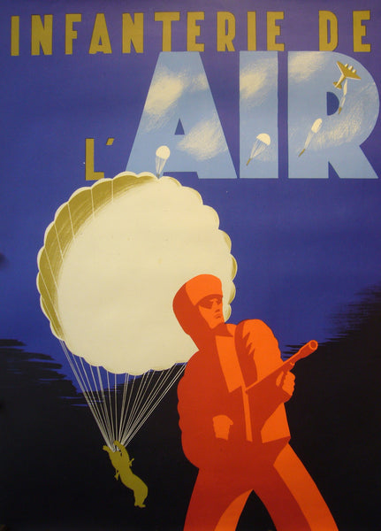 1945 Original French WWII Poster, Infanterie De L'Air