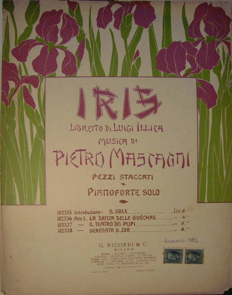 1899 Italian Art Nouveau Iris Music Sheet