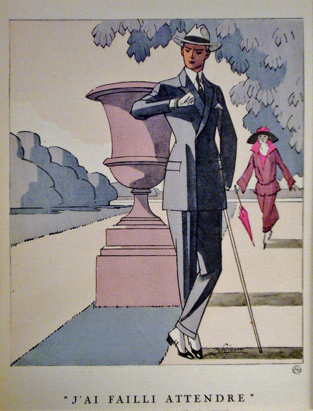 1920s French Art Deco Poster, Gazette du Bon Ton, J'ai Failli Attendre