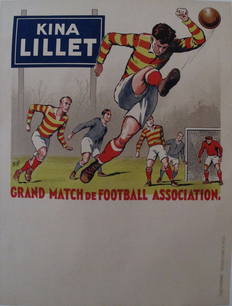1930s French Football Poster, Kina Lillet