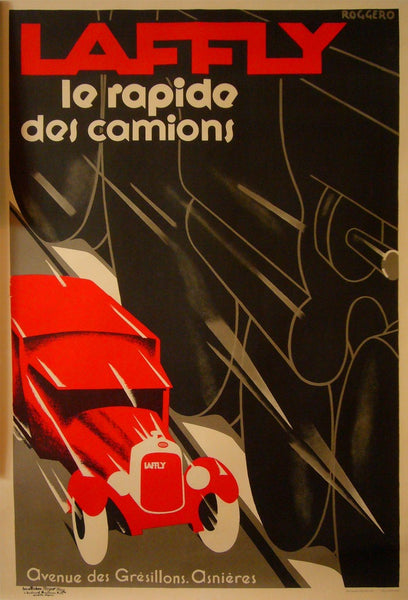 1980s Original French Art Deco Poster - Laffly - Le Rapide Des Camions - Roggero (after)