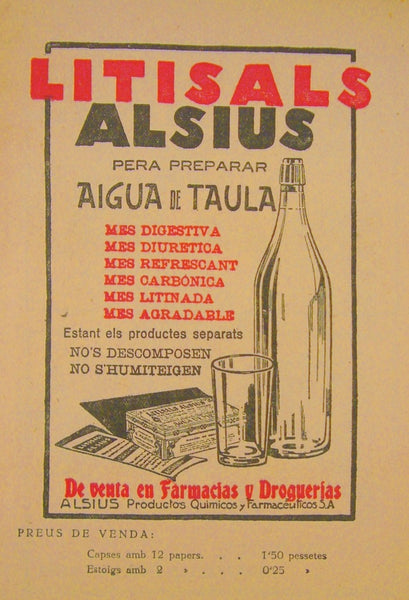 1930s Vintage Spanish Advertisement, Litisals Alsius, Spanish Bottled Water