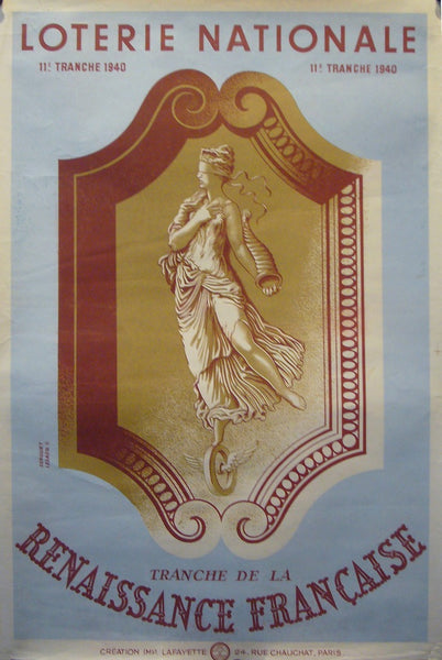 1940 French Art Deco Poster, Loterie Nationale Advertisement 'Renaissance Francaise' - Derouet-Lesacq