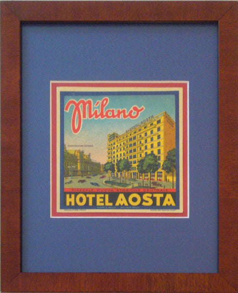 1920s Original Italian Art Deco Hotel Label, Hotel Aosta Milano, Matted And Framed
