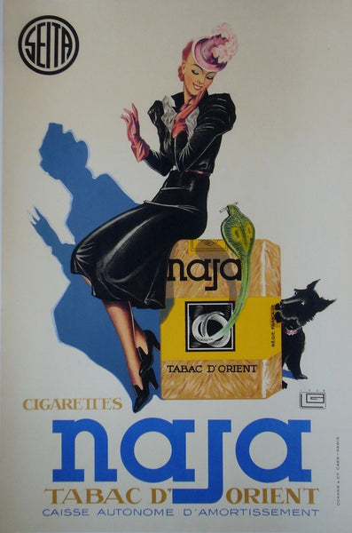 1939 Original French Art Deco Poster, Naja Tabac D'Orient - Leonnec