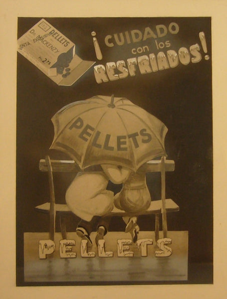 1940s Original Spanish Carton, Pellets Advertisement