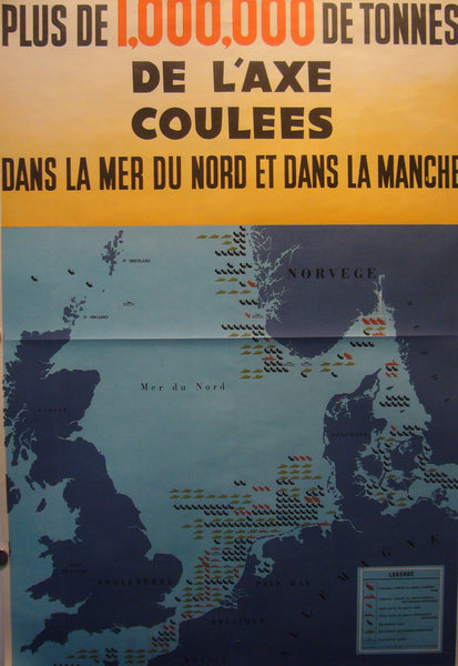 1945 Original + Rare French WWII Poster, De L'Axe Coulees