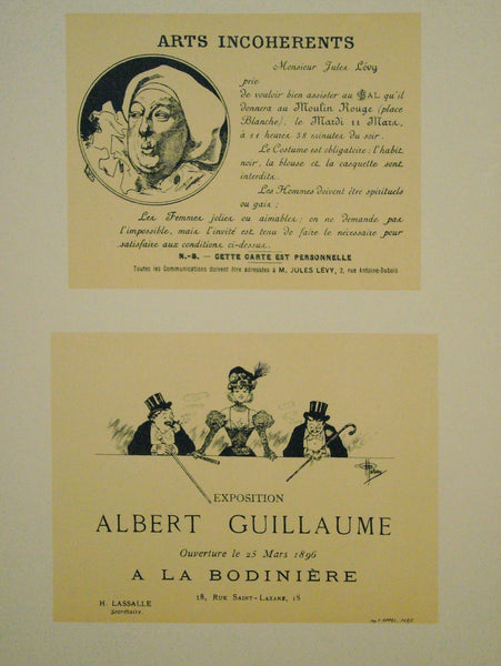 1897 Original French Art Nouveau Poster, Les Programmes Illustres, Arts Incoherents and Exposition Albert Guillaume - Cheret & Guillaume