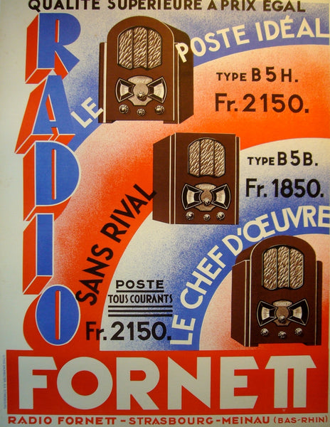 1940s Original French Art Deco Poster, Radio Fornett