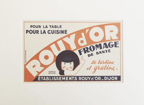 1920s Original Vintage French Blotter, Rouy d'Or Cheese