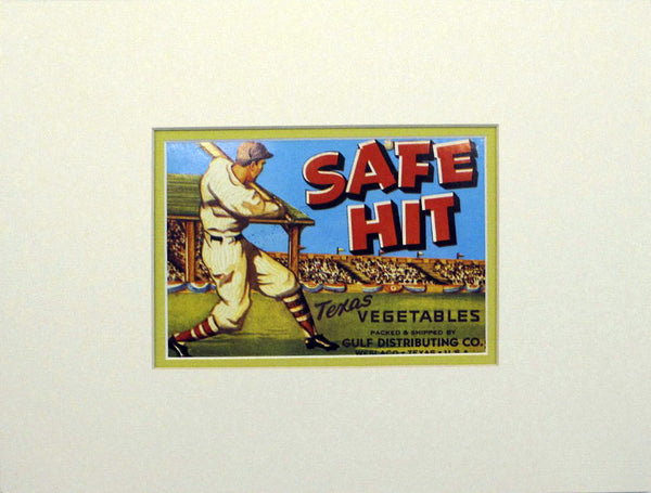 1950s Original Baseball Themed Vegetable Label, Safe Hit, Matted