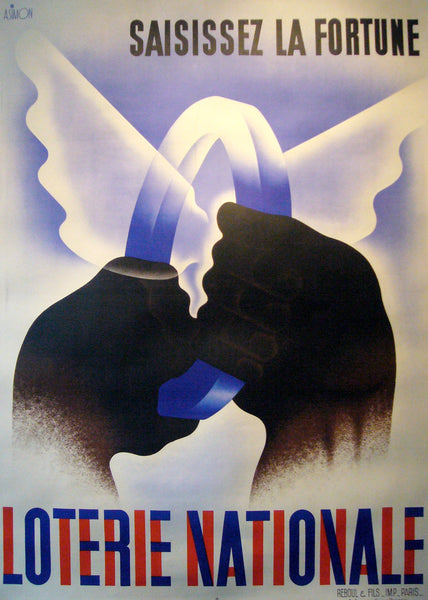 1935 French Art Deco Poster, Loterie Nationale, Saisissez la fortune
