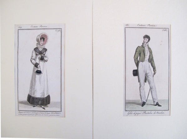 1820's Costumes Parisien, Parisian Fashion Plates (set of 2)