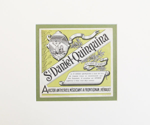 1930 Original European Label, St. Daniel Quinquina (Matted)
