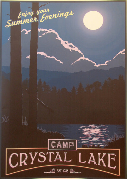 2012 Modern Retro Movie Travel Poster, Camp Crystal Lake