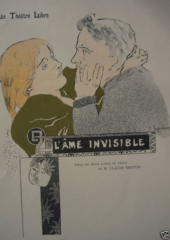 1897 Original French Art Nouveau Poster, Les Programmes Illustres, l'Ame Invisible -Synave