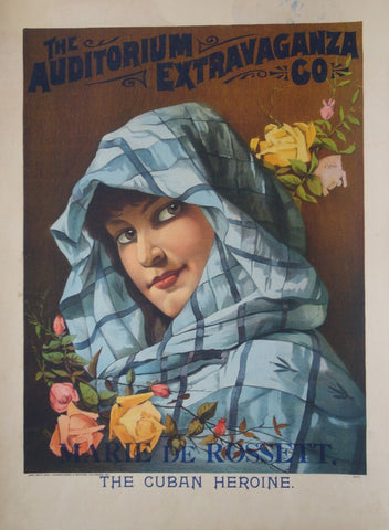 1900 Original American Art Nouveau Poster, The Cuban Heroine
