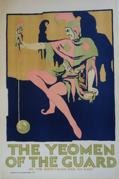 1920s Original British Art Deco Poster, Gilbert & Sullivan, The Yeomen Of The Guard, Jester