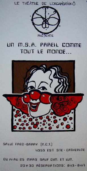 1980s Contemporary Quebec Poster, Theatre De L'Organisation