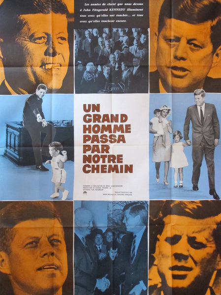 1960s Original French Film Poster, John F Kennedy Movie, Un Grand Homme Passe par Notre Chemin
