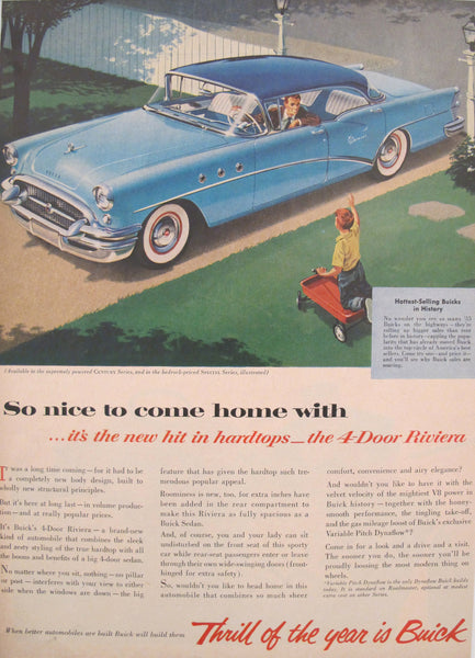 1950s Matted American Buick Car Advertisement, ''Thrill of the Year is Buick''