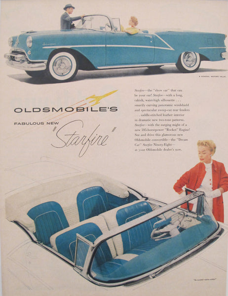 1960s Matted Vintage American Car Advertisement - Fabulous New Oldsmobile Starfire