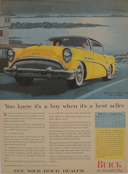 1950s Matted American Buick Car Advertisement, ''You know it's a buy''
