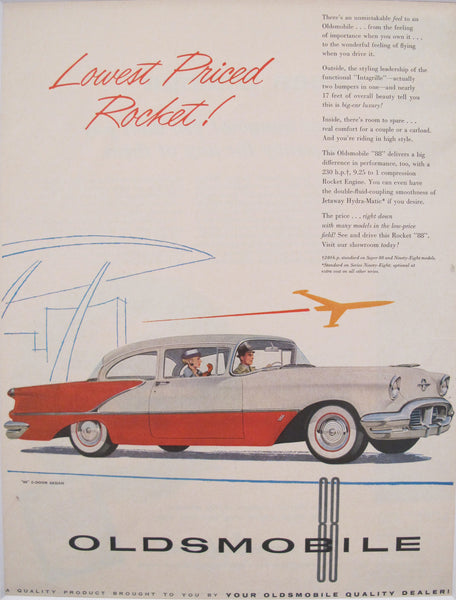 1950s Matted American Car Advertisement, Oldsmobile Rocket