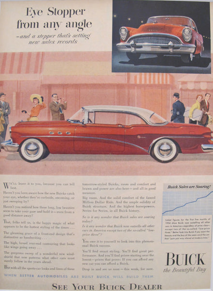 "1950s Matted American Car Advertisement, Buick ""Eye Stopper"""
