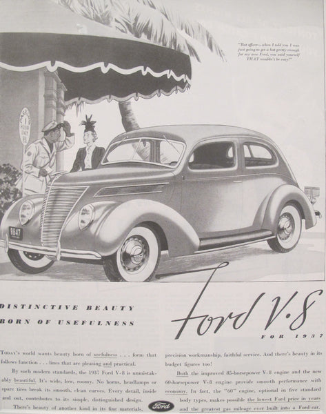 1937 Vintage Matted American Car Advertisement, Ford V8