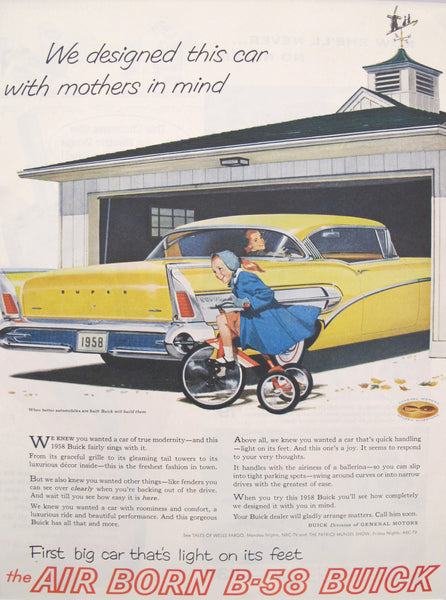 "1958 Matted American Car Advertisement, B-58 Buick, ""We designed this car with mothers in mind"""