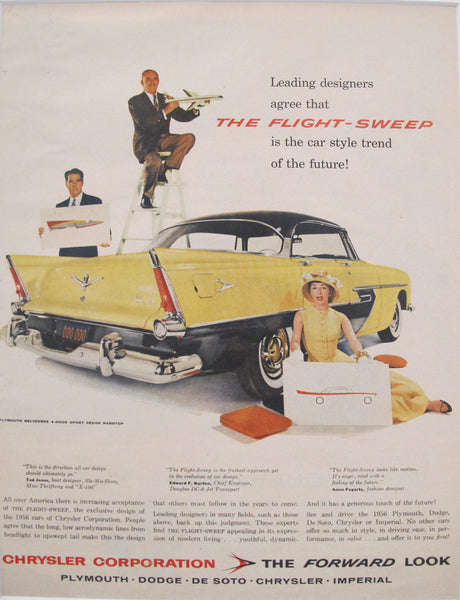 1956 Matted American Car Advertisement, Chrysler Flight-Sweep