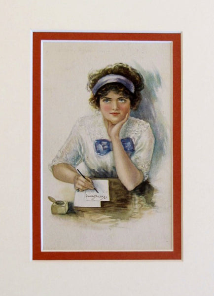 1900 - 1910 Original Vintage Mini Poster - Young Girl Writing Letter