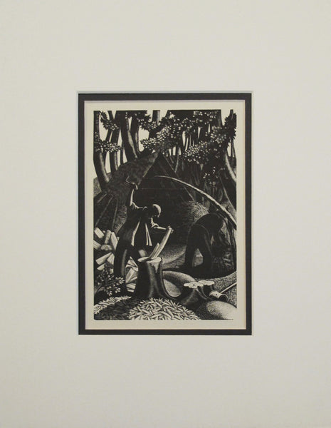 1938 Woodblock Print, Lumberjacks, Matted - Leighton, Clare