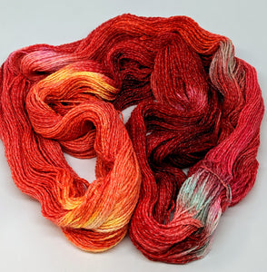 Fire- Variegate, Shimmer Yarn, Hand Dyed Fingering/Sock Yarn