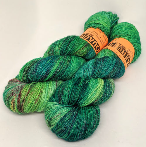 Green Alien- Variegate, Shimmer Yarn, Hand Dyed Fingering/Sock Yarn