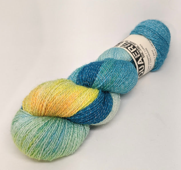 A Lighter Starry Night- Variegate, Shimmer Yarn, Hand Dyed Fingering/Sock Yarn
