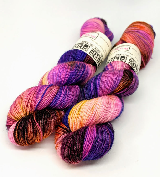 Purple Fall - Variegate, Sparkle Yarn, Hand Dyed Fingering/Sock Yarn