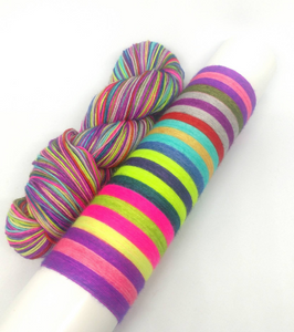 Flying Needles on Sparkle Sock- 20 Stripe Self Striping, Ready To Ship