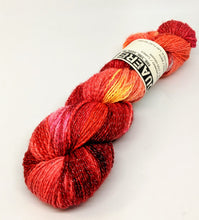 Load image into Gallery viewer, Fire- Variegate, Shimmer Yarn, Hand Dyed Fingering/Sock Yarn