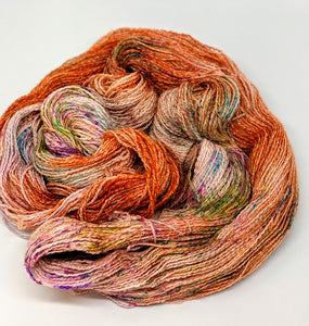 Coral- Variegate, Shimmer Yarn, Hand Dyed Fingering/Sock Yarn