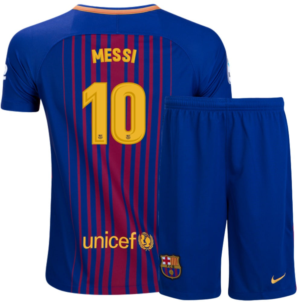 84c25d69337 Barcelona 17 18 Home Youth Kit Messi  10 – Soccer Limited