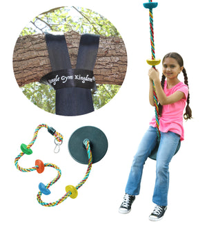 Tree Swing Climbing Rope Multicolor with Platforms Green Disc Swings Seat - Outdoor Playground Set Accessories - Bonus Carabiner and 4 Feet Strap