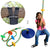 Tree Swing Climbing Rope Multicolor with Platforms Blue Disc Swings Seat - Outdoor Playground Set Accessories - Bonus Carabiner and 4 Feet Strap