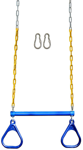 "Jungle Gym Kingdom 18"" Trapeze Swing Bar & Rings 48"" Heavy Duty Chain & Locking Snap Hooks - Blue"