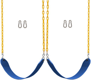"2 Pack Swings Seats Heavy Duty 66"" Chain Plastic Coated with Snap Hooks - Blue"
